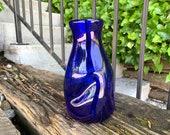 "Collapsing Decanter, Cobalt Blue Blown Glass 8"" Carafe, Vase, Melting Design Vessel for Wine, Juice, Water, Home Decor, by Avalon Glassworks"