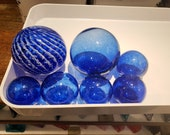 "Dark  Blue Set of Seven, Blown Glass Balls, 2.5"" - 4.5"" Pond Floats, Garden Balls, by Avalon Glassworks"