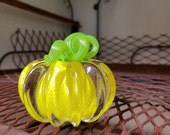 "Bright Yellow Mini Pumpkin with Green Stem, Solid Glass Paperweight, 3"" Decorative Squash Sculpture, By Avalon Glassworks"