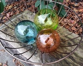 """Beach Glass, Set of Three 3.5"""" - 4.5"""" Floats, Garden Balls, Nautical Home Décor in Vibrant Glass Tones, Hand Blown By Avalon Glassworks"""