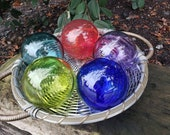 "Nautical Rainbow of Glass Floats, Set of Five 3.5"" Blown Glass Spheres, Sturdy and Decorative for Outdoors or Indoors, By Avalon Glassworks"