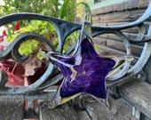 "Purple Sea Star Sculpture, 6"" Solid Glass Decorative Starfish Paperweight, Coastal Nautical Beach House Decor Art Seashell Avalon Glassworks"