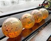 "Gold Glass Floats, Set of Four 3.5"" Hand Blown Spheres, Red Beige Amber Decorative Balls, Outdoor Garden Decor Indoor Art, Avalon Glassworks"
