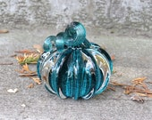 "Little Glass Pumpkin, Solid Aqua Blue Green Paperweight, 3"" Decorative Squash Sculpture in Dark Teal and Clear Glass, By Avalon Glassworks"