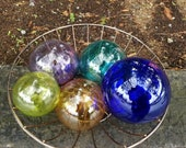 Beach Glass Décor, Set of Five Blown Glass Jewel-Tone Spheres, Nautical Garden Art, By Avalon Glassworks