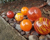 "Reds and Oranges, Set of Six Blown Glass Floats 2.5"" to 4.5"" Decorative Balls, Sturdy Garden Spheres, By Avalon Glassworks"