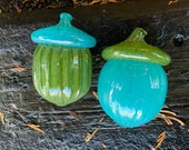 "Big Glass Acorns, Set of Two, 4"" Turquoise & Green Seed Pod Sculptures, Thanksgiving Autumn Decor, Natural, Oak Tree Art, Avalon Glassworks"