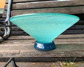 "Sea Foam Bowl, 6.5"" Wide Turquoise & Teal, ""V""-Shaped, Hand Blown Glass Footed Dish, Coin or Jewelry Holder, Bath Decor By Avalon Glassworks"