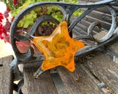 "Glass Starfish, Yellow Orange Sea Star, Solid 6"" Sea Star Sculpture, Decorative Paperweight Coastal Beach House Art Decor, Avalon Glassworks"