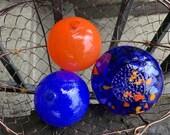 "The ""Coast Guard"" Floats, Set of 3 Decorative Hand Blown Glass Balls, Blue & Orange Nautical Home Office Garden Art Decor, Avalon Glassworks"