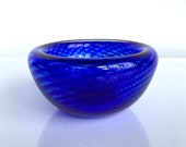 """Cobalt Blue Optic Twist Blown Glass Bowl, 4"""" Double-Wall Style, Candy Dish, Jewelry Holder, Key Drop Entry Hall Art Decor, Avalon Glassworks"""