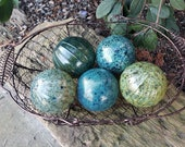 "Dark Green and Blue, Speckled, Set of Five Floats, 2.5"" Decorative Blown Glass Balls, Garden Decoration, Basket Filler, by Avalon Glassworks"