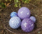 "Lavender, Blue & Lilac Glass Floats, Set of Five, 2.5"" to 4"" Blown Glass Spheres, Decorative for Outdoors or Indoors, By Avalon Glassworks"