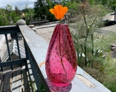 "Pink Bubble Vase, 6.5"" Cranberry Glass Bud Vase, Hand Blown with Trapped Bubble Pattern, by Avalon Glassworks"
