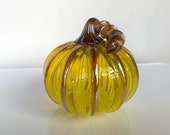 "Bright Yellow Transparent, 4.5"" Blown Glass Pumpkin, Decorative Gourd Sculpture with Dark Gold Ribs and Stem, By Avalon Glassworks"
