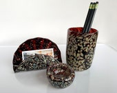 Burgundy Red Blown Glass Desk Set, 3-Piece Accessories Include Card Holder, Clip Dish, and Pen Holder or Drinking Glass By Avalon Glassworks