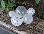 "White and Clear Floats, Set of Five Striped and Spotted 2.5""- 4.5"" Blown Glass Balls, Decorative Spheres By Avalon Glassworks"