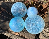 "Jellyfish Floats, Set of Flour, 2.5""-3.5"" Blown Glass Garden Balls, Transparent Light Blue, Opalescent Floating Spheres, Avalon Glassworks"