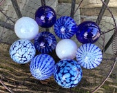 Blue and White Floats, Set of Ten Small Decorative Art Glass Balls, Nautical Pond Spheres, Garden Art, Outdoor or Indoor, Avalon Glassworks