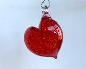 "Bright Red Hanging Abstract Glass Heart Ornament, 3"" Blown Glass Sun Catcher Holiday Art Decoration, Valentine's Day Gift, Avalon Glassworks"