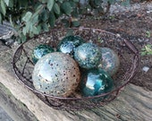 "Teal and Gold Floats, Set of Six Decorative Glass, 2.5"" to 4.5"" Spheres in Teal & Creamy Gold, Pond Float Garden Balls, By Avalon Glassworks"