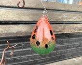 "Watermelon Blown Glass Ornament, 4"" Hanging Sun Catcher with Metal Hook, Christmas Tree Decoration, Summer Fruit Decor, Avalon Glassworks"