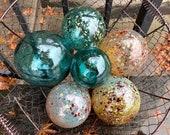"Gold and Teal Floats, Set of Six Decorative Blown Glass Balls, 3""-4"" Spheres, Aqua Blue, Pond Floats Outdoor Garden Decor, Avalon Glassworks"