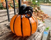 "Orange and Black Stripe Pumpkin, 4.5"" Decorative Blown Glass Squash Sculpture with Curly Dark Stem and Accent on Ribs, By Avalon Glassworks"
