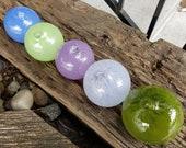 "Purples & Greens Blown Glass Balls, Set of 5 Opaque 2.75"" Pond Floats, Garden Decoration, Basket Filler, Yard Art, By Avalon Glassworks"