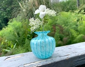 "Aqua Bud Vase, 4"" Tall Blown Glass Small Flower Vase, Transparent Blue and White Pattern, by Avalon Glassworks"