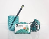 Teal Blown Glass Desk Accessory Set, 3-Pieces Set Includes Bussines Card Holder, Pen Cup and Pumpkin in Dark Aqua Blue  By Avalon Glassworks