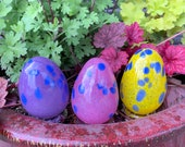 "Easter Eggs, Set of Three 3.5"" Blown Glass Egg Sculptures in Pink, Purple, Yellow, with Blue Spots, Easter Décor, By Avalon Glassworks"