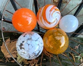 "Orange and White, Set of Five 2.5""-3.5"" Blown Glass Floats in Bright Oranges and Whites, Decorative Outdoor Garden Balls, Avalon Glassworks"
