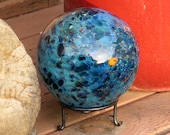 "Ocean Garden Ball, 8"" Blue Pattern Blown Glass Garden Ball, Large Decorative Float with Hand Made Metal Stand By Avalon Glassworks"