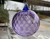 "Purple Diamond Facet Blown Glass Ornament, 3"" Hanging Sun Catcher, Holiday Decor, Christmas Tree Decoration, Metal Hook, Avalon Glassworks"
