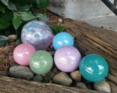 "Pastel Dreams Garden Balls, Set of Six Floats, 2.5""-4.5"" Blown Glass Spheres in Pastel Colors, Decorative Pinks and Blues, Avalon Glassworks"