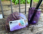 Purple & Gold Glass Desk Accessory Set with Postcard Holder and Pen Cup in Transparent Purple with Gold Flecks, By Avalon Glassworks