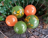 "Orange and Olive Green Hand Blown Glass Balls, Set of Five 2.5""-3.5"" Garden Art Spheres, Indoor Outdoor Decorative Floats, Avalon Glassworks"