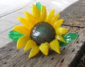 "Sunflower Sculpture, Blown Glass 7"" Decorative Flower with Brown Center, Yellow Petals, Green Curled Leaves, By Avalon Glassworks"