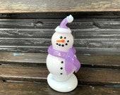 "Purple Hat & Scarf Snowman Sculpture, Blown Glass Snow Woman Lavender White-Trimmed Cap, Black Eyes, Smile, ""Carrot"" Nose, Avalon Glassworks"