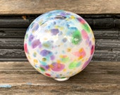 "Rainbow Sprinkles Float, 6"" Blown Glass Pond Ball with Multi-Color Spot Design, Purple, Pink, Blue, Green, Garden Globe, Avalon Glassworks"