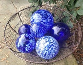 "Blue and White Floats, Set of Six, 2.5""-4.5"" Decorative Glass Balls, Nautical Pond Spheres, Hand Blown Glass Balls by Avalon Glassworks"