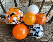 "Koi Pond Floats, Set of Six, 3""-4"" Decorative Blown Glass Balls, Orange, White, Black, Outdoor Floating Garden Spheres, Avalon Glassworks"