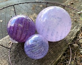 "Lavender and Purple Glass Floats, Set of Three 3""-4.75"" Decorative Blown Glass Garden Art Balls Outdoor Decor Pond Floats Avalon Glassworks"