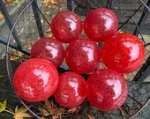 "Red Glass Floats, Set of Eight 3"" Hand Blown Garden Balls, Interior Design Spheres, Outdoor Pond Orbs, Coastal Tiki Decor, Avalon Glassworks"