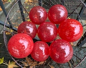 "Just Reds, Set of Eight, 3"" Blown Glass Garden Balls, Fishing Floats, Outdoor Decor, Holiday Basket Filler, Pond Spheres, Avalon Glassworks"
