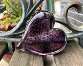 "Purple Controlled Bubble Glass Heart, Solid Heart-Shaped 3"" Paperweight Art Sculpture, Wedding Valentine Anniversary Gift, Avalon Glassworks"