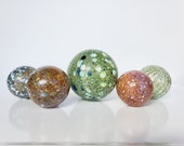 "Mega Mix Speckles, Set of Five Floats, 2.5"" & 3.5"" Decorative Blown Glass Balls, Garden Decoration, Basket Filler, Avalon Glassworks"