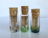 "Message In A Bottle, Set of Three, 4"" Blown Glass Jars, Cork Stoppers, Colored Speckles, Note or Money Gifting Containers, Avalon Glassworks"