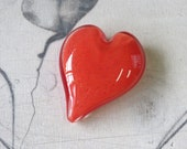 "Coral Red Heart, Solid Heart-Shape 3"" Paperweight Sculpture, Appreciation Gift, By Avalon Glassworks"